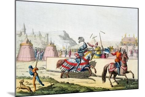 Armoured Knights Jousting at a Tournament, 12th Century, C1820--Mounted Giclee Print