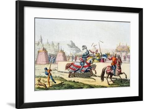 Armoured Knights Jousting at a Tournament, 12th Century, C1820--Framed Art Print