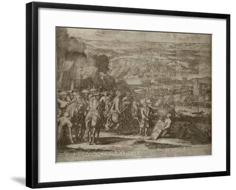 Siege of the Turkish Fortress Azov by Russian Forces in 1696, Um 1700-Adriaan Schoonebeek-Framed Art Print