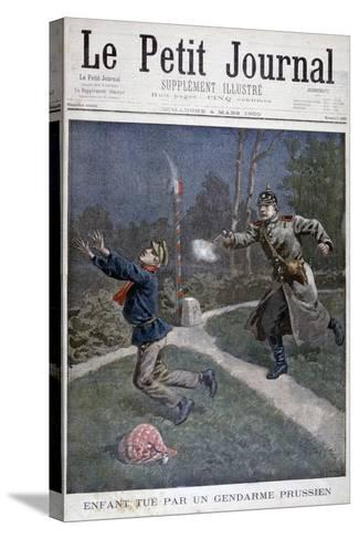 A Boy Shot by a Prussian Gendarme Escaping from a Correctional Facility, 1900--Stretched Canvas Print