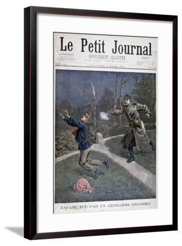 A Boy Shot by a Prussian Gendarme Escaping from a Correctional Facility, 1900--Framed Art Print