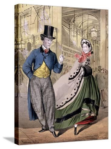 A Lady and a Gentleman by the Entrance to the Oxford Music Hall, Oxford St, Westminster, C1860-Concanen & Lee-Stretched Canvas Print