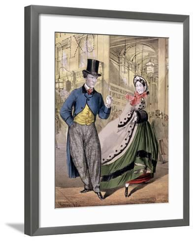 A Lady and a Gentleman by the Entrance to the Oxford Music Hall, Oxford St, Westminster, C1860-Concanen & Lee-Framed Art Print