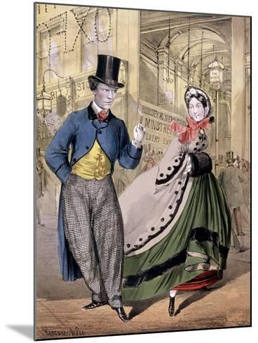A Lady and a Gentleman by the Entrance to the Oxford Music Hall, Oxford St, Westminster, C1860-Concanen & Lee-Mounted Giclee Print