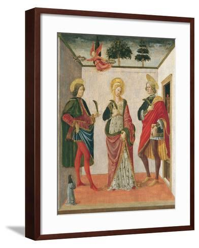 Saint Cecilia Between Saint Valerian and Saint Tiburtius with a Donor-Francesco Botticini-Framed Art Print