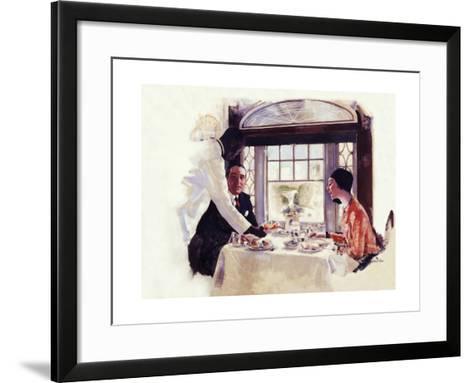 Dinner Serivce on the B&O-Dan Content-Framed Art Print