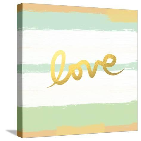 Love Stripes Mint and Gold-Linda Woods-Stretched Canvas Print