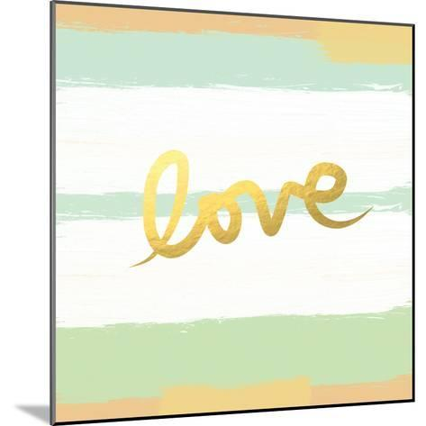 Love Stripes Mint and Gold-Linda Woods-Mounted Art Print