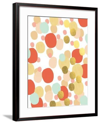 Abstract Painting Mint and Gold-Linda Woods-Framed Art Print