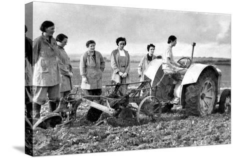British Girls of the Women's Land Army Learning to Plough with a Tractor, World War II, 1939-1945--Stretched Canvas Print