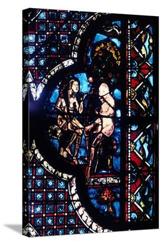 Adam and Eve, Stained Glass, Chartres Cathedral, France, 1205-1215--Stretched Canvas Print