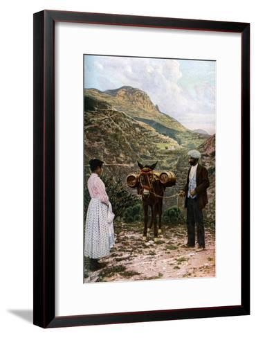 Mule with Water Kegs, Sicily, Italy, C1923-AW Cutler-Framed Art Print