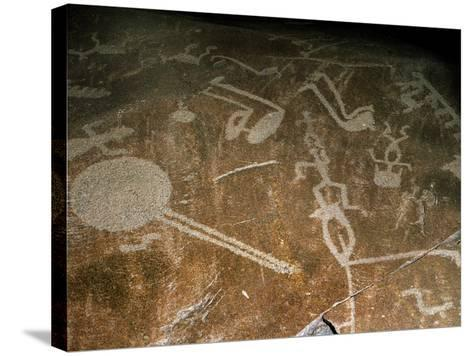 Carved Petroglyph' (People, Deers, Elks, Birds, Boots and Circle), 4th-3rd Millenium BC--Stretched Canvas Print
