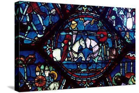 Combat Between Roland and King Marsile, Stained Glass, Chartres Cathedral, France, 1194-1260--Stretched Canvas Print