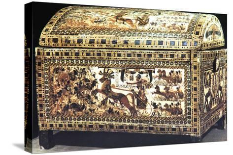 Painted and Inlaid Coffer from the Treasure of Tutankhamun, Ancient Egyptian, C1325 Bc--Stretched Canvas Print