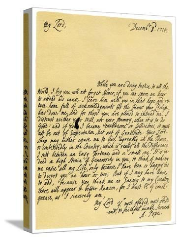 Letter from Alexander Pope to Charles Montagu, 3rd December 1714-Alexander Pope-Stretched Canvas Print