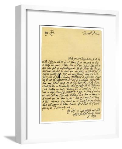 Letter from Alexander Pope to Charles Montagu, 3rd December 1714-Alexander Pope-Framed Art Print