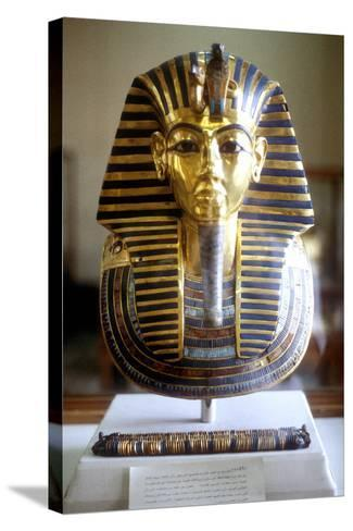 Gold and Lapis Lazuli Funerary Mask of Tutankamun, King of Egypt, Mid 14th Century BC--Stretched Canvas Print