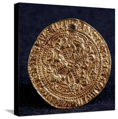 Coin (Korabelni) of Tsar Ivan III (Averse: Blossom Cros), 1471-1490--Stretched Canvas Print