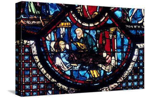 The Good Samaritan Cares for the Pilgrim, Stained Glass, Chartres Cathedral, France, 1205-1215--Stretched Canvas Print