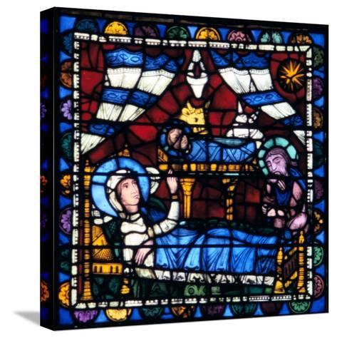 The Nativity, Stained Glass, Chartres Cathedral, France, 1194-1260--Stretched Canvas Print