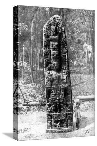 A Mystery Monolith in the Primeval Forest of Quirigua, Guatemala, 1922-Alfred P Maudsley-Stretched Canvas Print