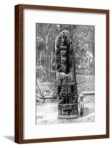 A Mystery Monolith in the Primeval Forest of Quirigua, Guatemala, 1922-Alfred P Maudsley-Framed Art Print