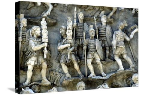 Roman Soldiers Taking Part in Decursio, the Ritual Circling of Funeral Pyre, C180-196--Stretched Canvas Print