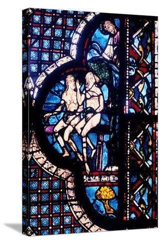 God Confronts Adam and Eve, Stained Glass, Chartres Cathedral, France, 1205-1215--Stretched Canvas Print