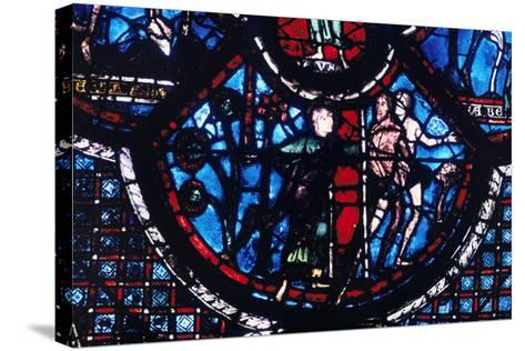 Expulsion from Eden, Stained Glass, Chartres Cathedral, France, 1205-1215--Stretched Canvas Print