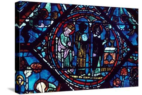 Mass of St Giles, Stained Glass, Chartres Cathedral, France, 1194-1260--Stretched Canvas Print