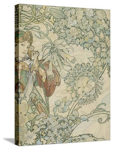 Textile Design-Alphonse Mucha-Stretched Canvas Print