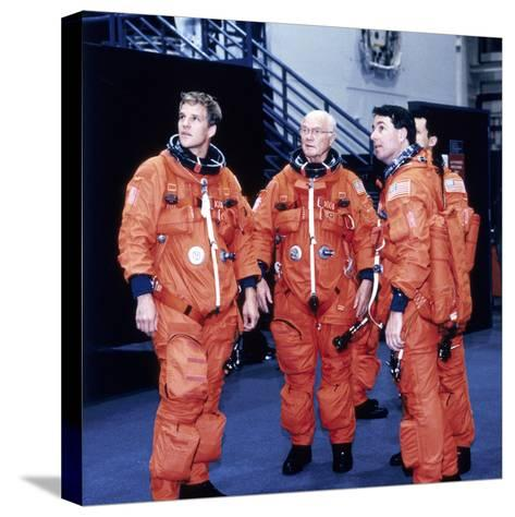 John H Glenn and Crew Members, June 1998--Stretched Canvas Print