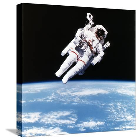 Us Astronaut Bruce Mccandless Spacewalking, 1984--Stretched Canvas Print
