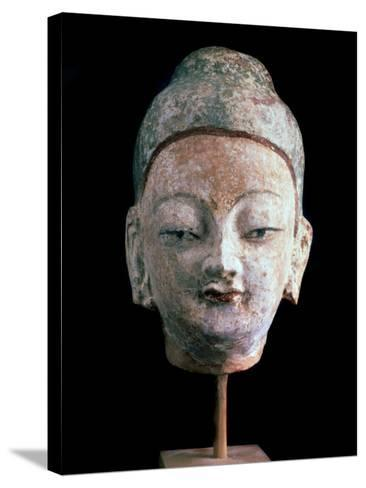 Head of Buddha, (From the Ruins of Old Idikutshari Near Turfa), 8th-9th Century--Stretched Canvas Print