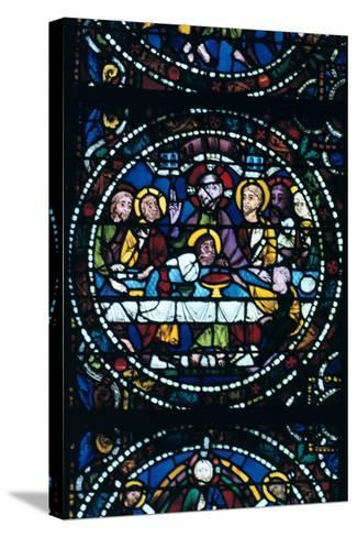 The Last Supper, Stained Glass, Chartres Cathedral, France, 1205-1215--Stretched Canvas Print
