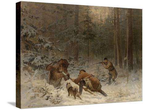 Bear Hunt-Evgeny Alexandrovich Tichmenev-Stretched Canvas Print