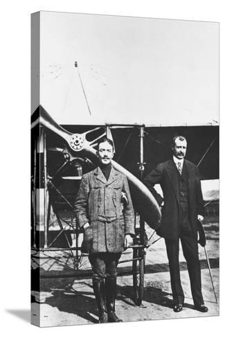 Louis Bleriot 1872-1936, French Aviator and the French Air Ace Adolphe Pegoud--Stretched Canvas Print