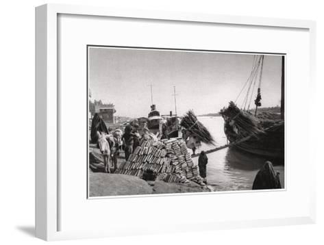 Unloading Cargo from a Boat, Muhaila, Baghdad, Iraq, 1925-A Kerim-Framed Art Print