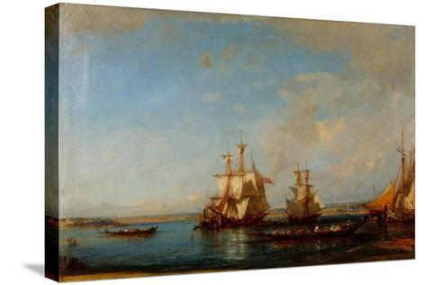 Caiques and Sailboats at the Bosphorus, Second Half of the 19th C-Felix-Francois George Ziem-Stretched Canvas Print