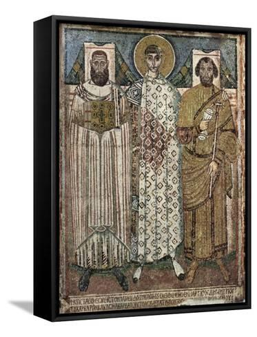 Saint Demetrius of Thessaloniki with the Donors, 6th-7th Century--Framed Canvas Print