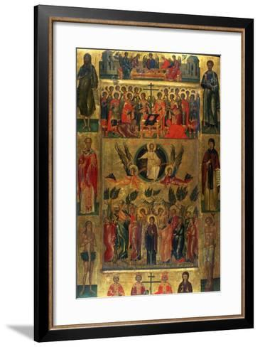 The Ascension of Christ with the Hetoimasia, 15th Century-Andreas Ritzos-Framed Art Print