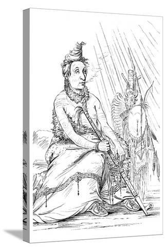 Portrait of 'Black Moccasin, Chief of the Minnetarees, 1841-Myers and Co-Stretched Canvas Print