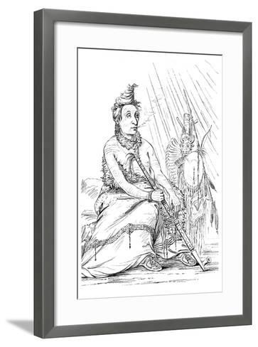 Portrait of 'Black Moccasin, Chief of the Minnetarees, 1841-Myers and Co-Framed Art Print