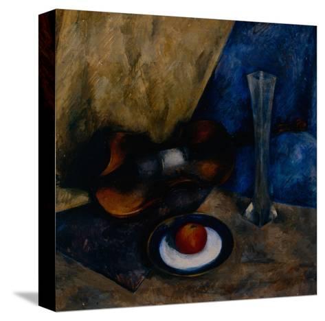 Still Life with a Violin, Apple and Vase, 1920-Anatoli Adrianovich Lebedev-Shuysky-Stretched Canvas Print