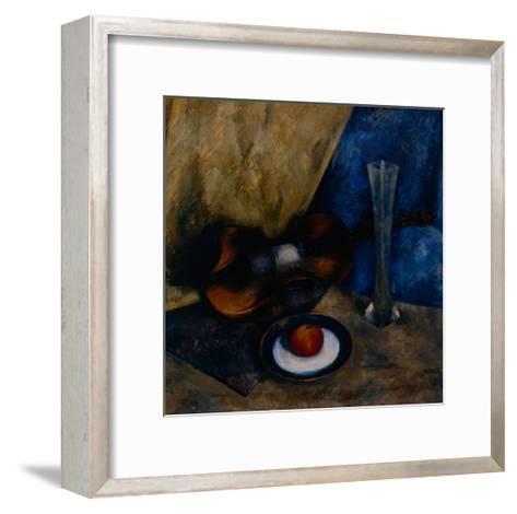 Still Life with a Violin, Apple and Vase, 1920-Anatoli Adrianovich Lebedev-Shuysky-Framed Art Print