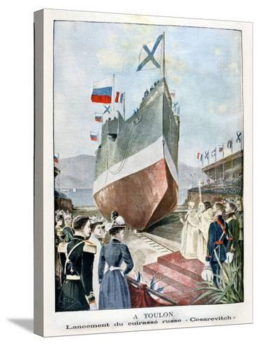 At Toulon, Launching the Russian Battleship Cesarevitch, 1901--Stretched Canvas Print