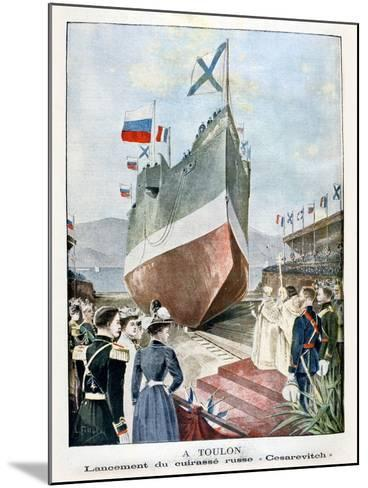 At Toulon, Launching the Russian Battleship Cesarevitch, 1901--Mounted Giclee Print