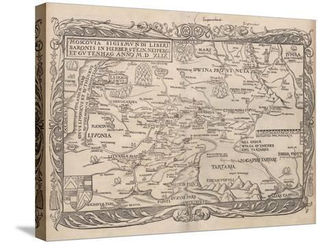Map of Russia (From: Rerum Moscoviticarum Commentarii.), 1556--Stretched Canvas Print