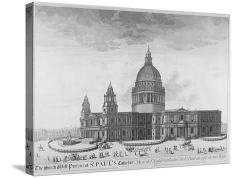 South-West View of St Paul's Cathedral, City of London, 1750--Stretched Canvas Print